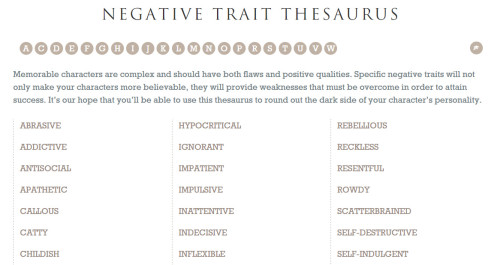 One Stop - Negative traits thesaurus
